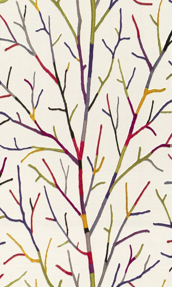 Contemporary Faux Multicoloured Wooly Branch Wallpaper R4399