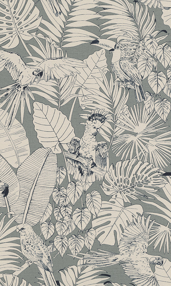 illustrated jungle floral wallpaper