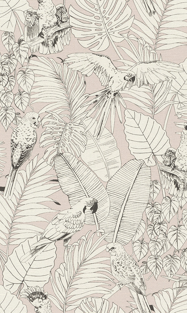 Pink Jungle Illustration Wallpaper R6161