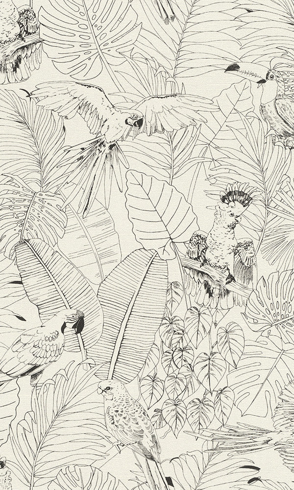 White Jungle Botanical Wallpaper R6162