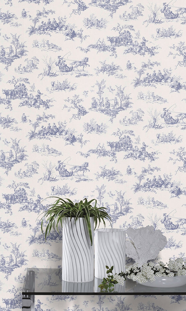 Blue Vintage Toile Wallpaper R6163 | Traditional Home Wall Covering