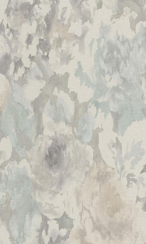 Vintage Floral Abstract Wallpaper Grey and White R4760 .vintage floral wallpaper