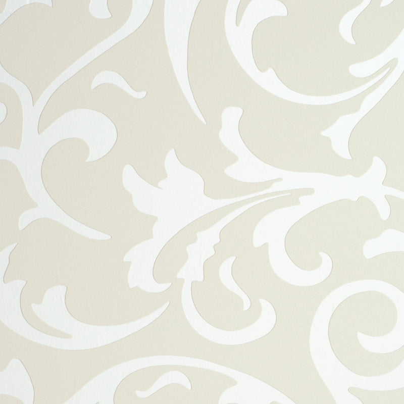 Twist Beige Metallic Damask Wallpaper SR1068