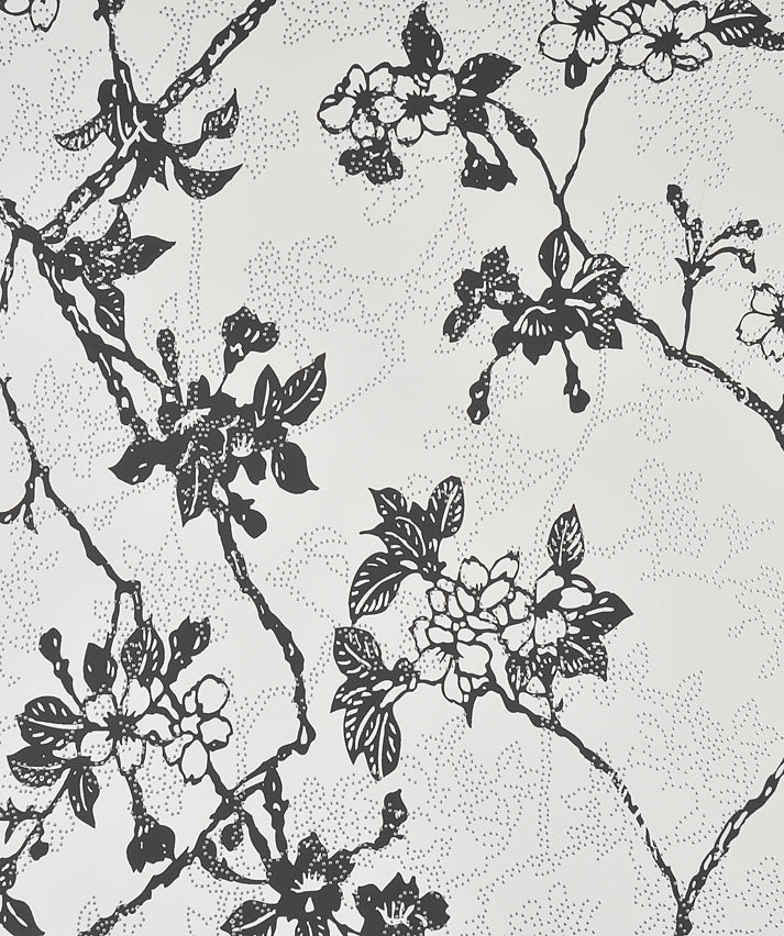 Enchanted Black and White Floral Wallpaper SR1142 . black and white floral wallpaper