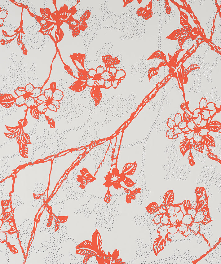 Enchanted Red and White Floral Wallpaper SR1143