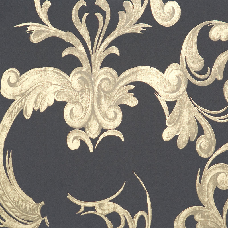 Swirl Black Traditional Damask Wallpaper SR1506