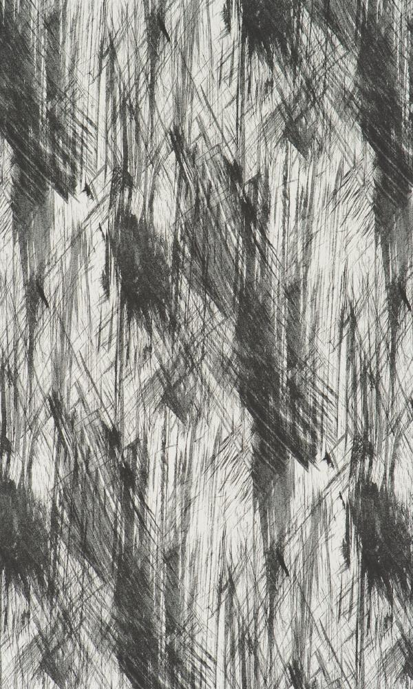 Black Brush Stroke Abstract Contemporary Wallpaper R2379
