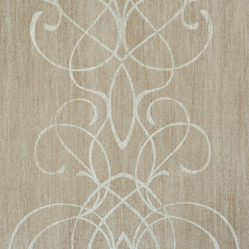 Taupe Embroid Damask Wallpaper R2463