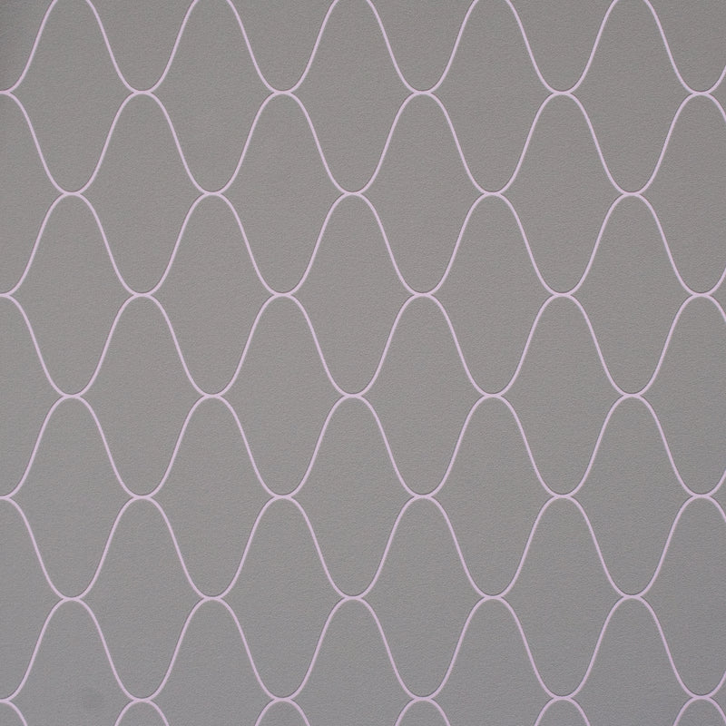 Lilac Wave Geometric Wallpaper R2219 | Luxury Living Room Design