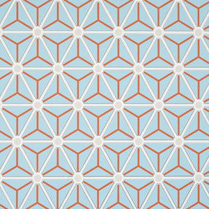 Blue Hexagonal Geometric Wallpaper R2251 | Modern Home Wall Covering
