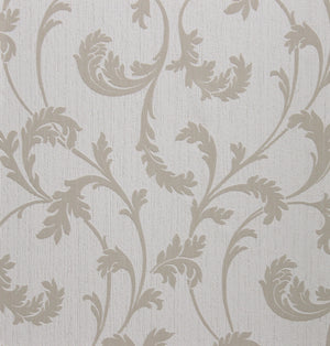 White & Tan Fable Traditional Wallpaper R2630 . Damask wallpaper