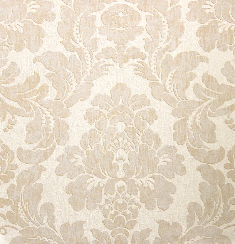 Beige Eggshell Everlasting Damask Wallpaper R2675. Damask wallpaper.