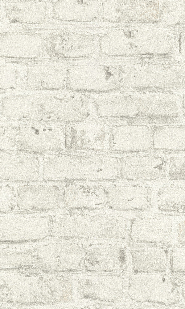 White Classic Faux Brick Wallpaper R6167. Brcik wallpaper