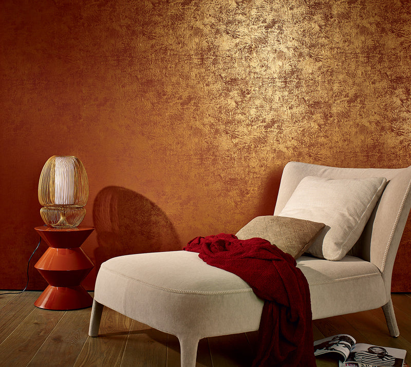 Simplistic Rustic Metallic Bronze Wallpaper R3958