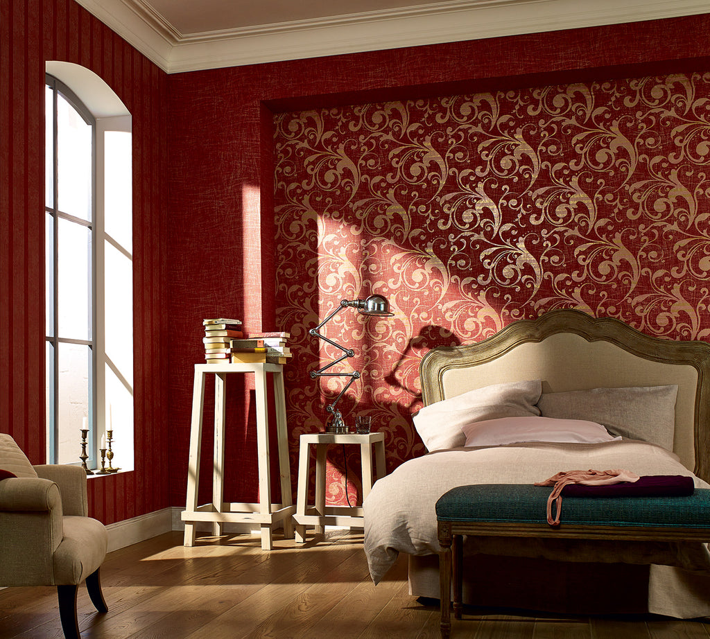 Traditional Metallic Swirl Red Wallpaper R3974