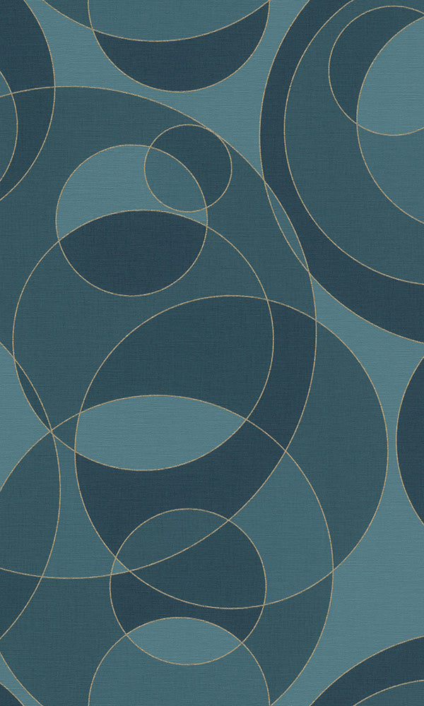 geometric circles wallpaper, Blue Overlapping Circles Wallpaper R6225 | Geometric Home Interior
