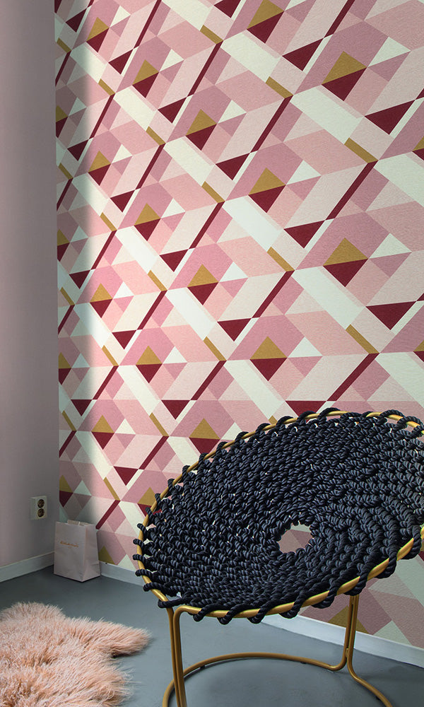 retro geometric wallpaper, Pink Bold Abstract Wallpaper R6174 | Retro Home Interior