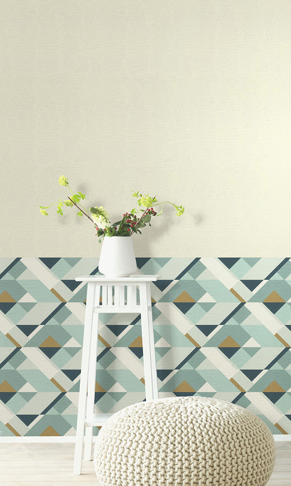 retro geometric wallpaper.Blue Bold Abstract Shapes Wallpaper R6175