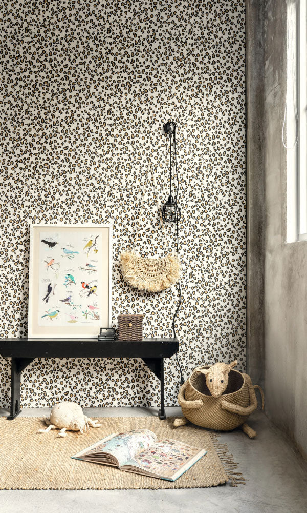 classic leopard print kids bedroom wallpaper