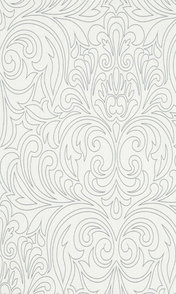 Metallic White Damask Wallpaper R3949 | Vintage Home Interior