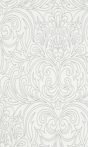 Contemporary Metallic White Damask R3949