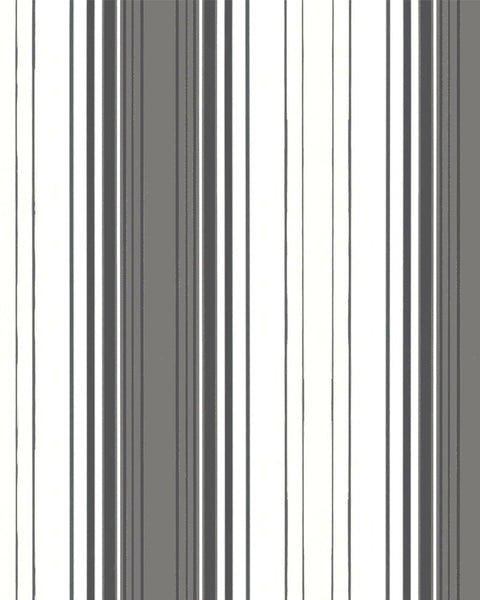 Modern Striped Gradation Metallic White and Silver Wallpaper R3955