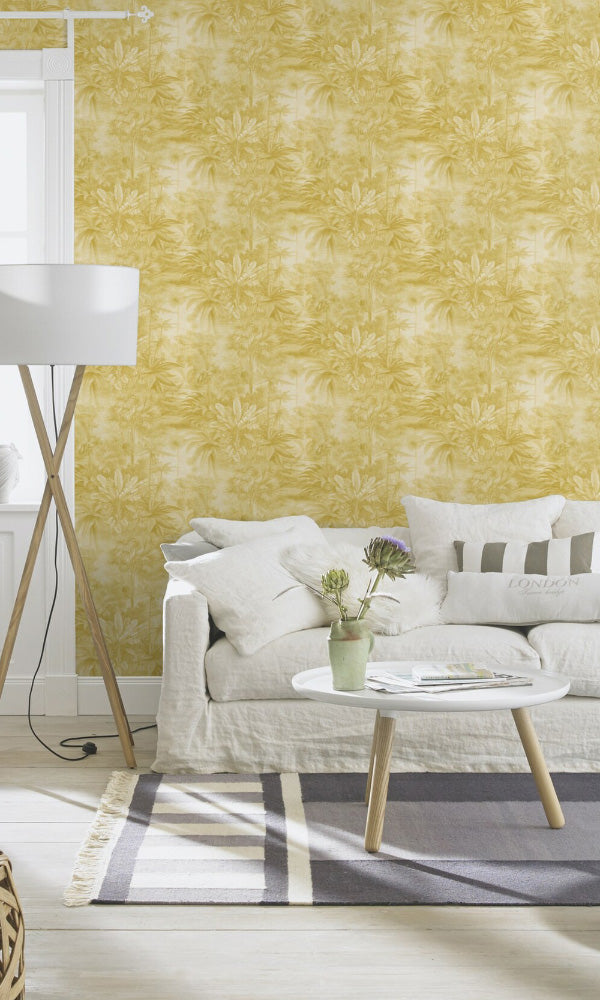 botanical living room wallpaper