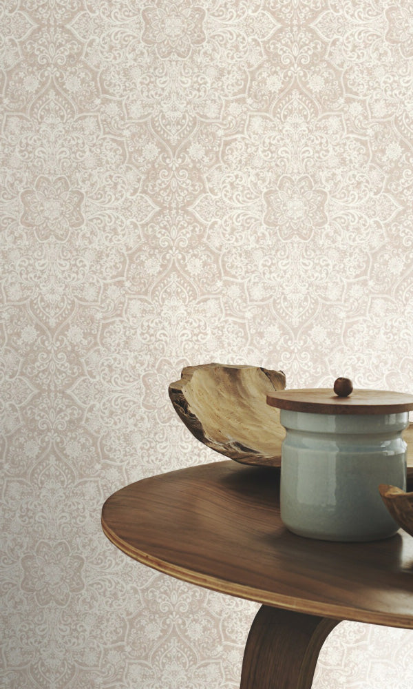 ornamental powder room wallpaper