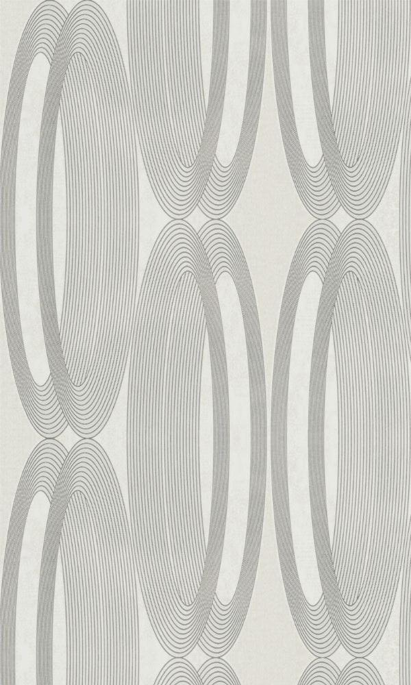 Contemporary Metallic And White Wheeled Wallpaper R3964
