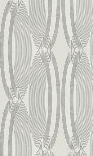 Metallic White Wheeled Wallpaper R3964 | Contemporary Home Wall Covering