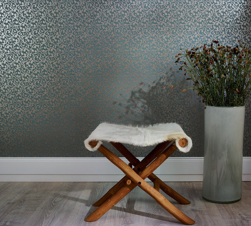 Blue Metallic Swirl Damask Wallpaper R3984