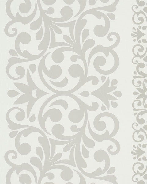 Traditional Metallic Alternating Damask White And Silver Wallpaper R3981