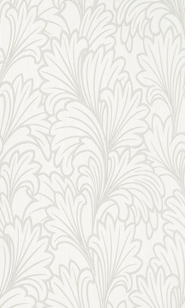 Contemporary Metallic Textured Leafy White Wallpaper R3997