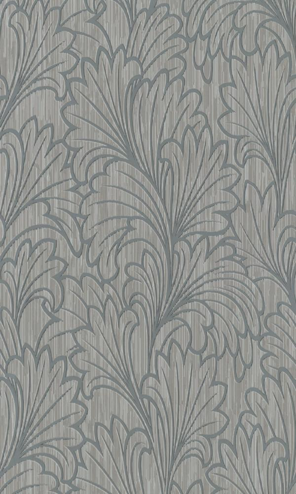 Contemporary Textured Leafy Grey Wallpaper R3998. Leafy Wallpaper