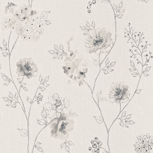 Floral Sketched Grey Dainty Wallpaper R4377