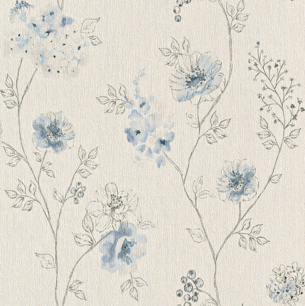 Floral Sketched Blue Dainty Wallpaper R4376
