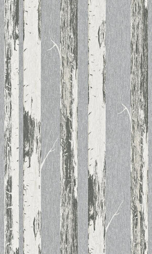 Contemporary Metallic Silver Paper Birch Wallpaper R4368