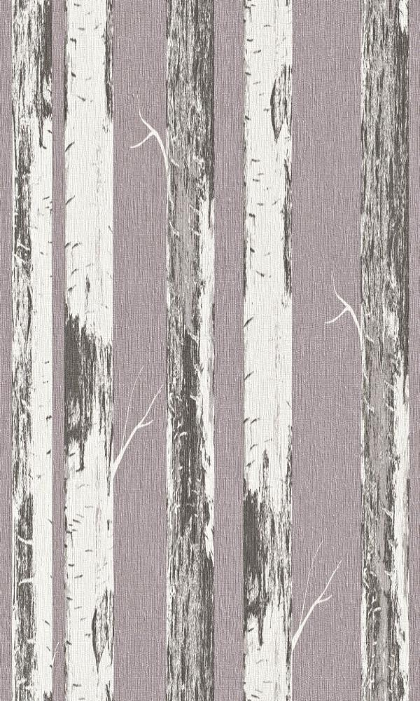 Contemporary Metallic Purple Paper Birch Wallpaper R4367