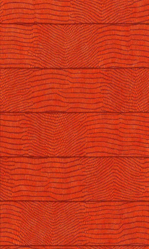 Contemporary Faux Leather Red Orange Vibrant Crocodile Wallpaper R3676