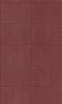Contemporary Faux Leather Marsala Red Soft Crocodile Wallpaper R3672