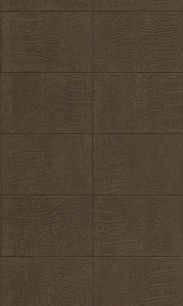 Contemporary Faux Leather Brown Soft Crocodile Wallpaper R3669