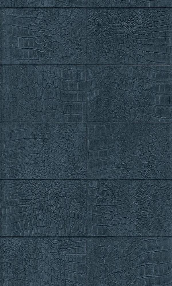 Contemporary Faux Leather Navy Blue Soft Crocodile Wallpaper R3670