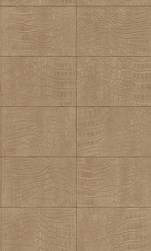 Contemporary Faux Leather Tan Soft Crocodile Wallpaper R3668