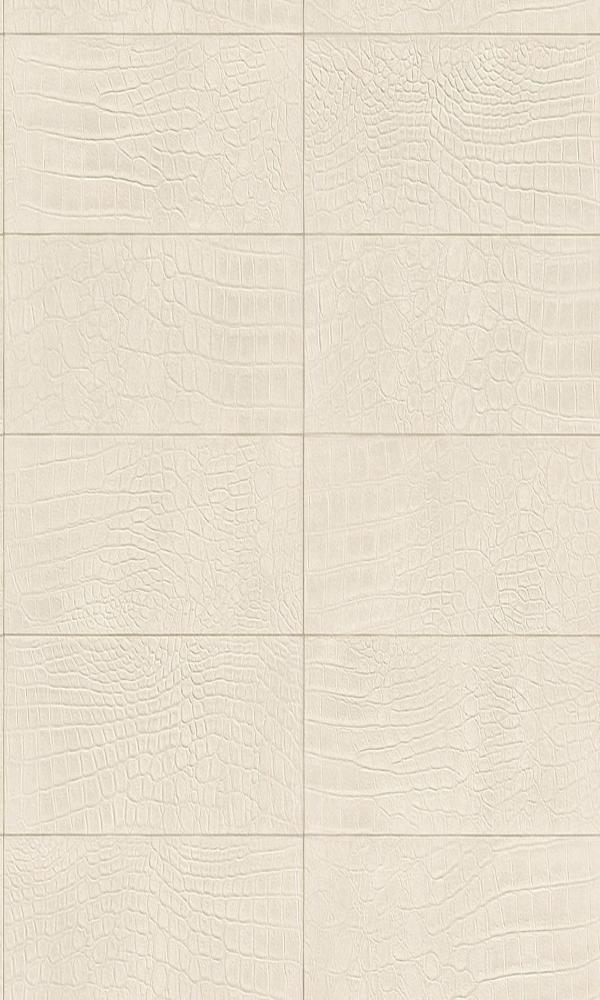 Contemporary Faux Leather Off-White Soft Crocodile Wallpaper R3671