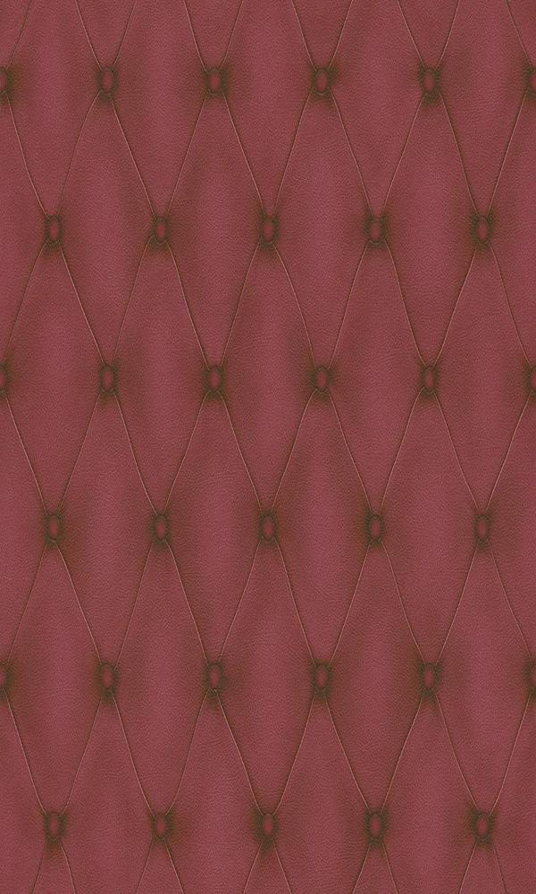 Contemporary Faux Leather Marsala Red Tufted Wallpaper R3681
