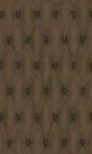 Contemporary Faux Leather Brown Tufted Wallpaper R3679