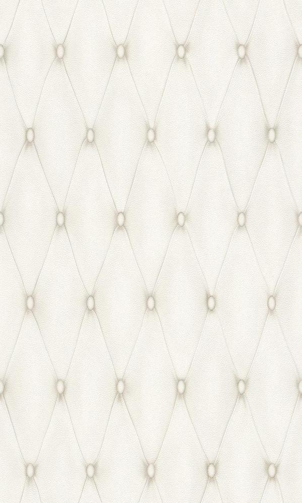 Contemporary Faux Leather White Tufted Wallpaper R3682