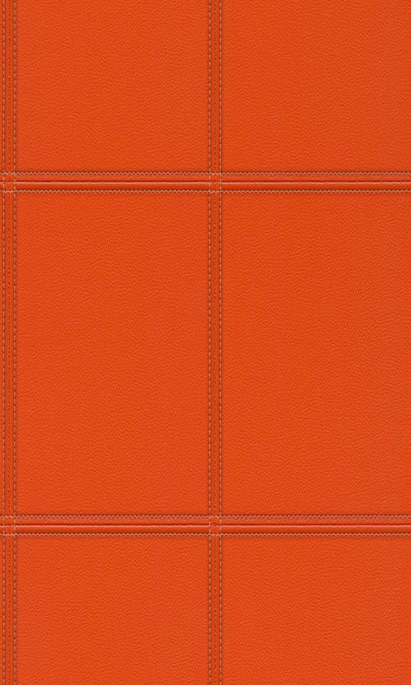 Contemporary Faux Leather Orange Stitched Panel Wallpaper R3647