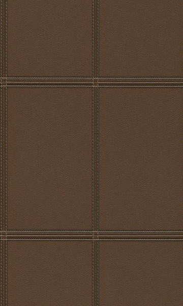 Contemporary Faux Leather Brown Stitched Panel Wallpaper R3645