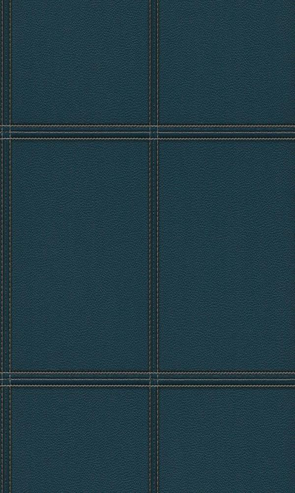 Contemporary Faux Leather Navy Blue Stitched Panel Wallpaper R3643